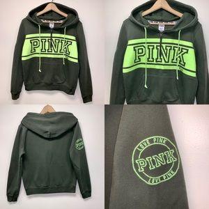 Pink/VS Olive Quarter Zip W/Kangaroo Pocket Hoodie